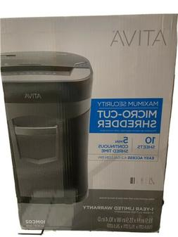 Ativa 10 Sheet Micro - Cut Shredder. Maximum Security. New I