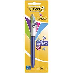 BIC 4 Colours & Charm Ballpoint Pen Purple Barrel 1 Pack