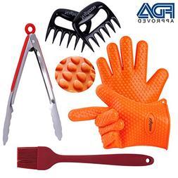 Nightzoo BBQ Grill Tools Set 2 Silicone BBQ Gloves & 2 BBQ M