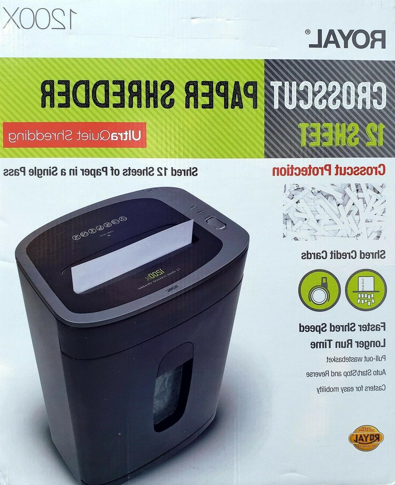 Royal 12 Sheet Paper Shredder Heavy Duty Cross Cut Ultra Qui