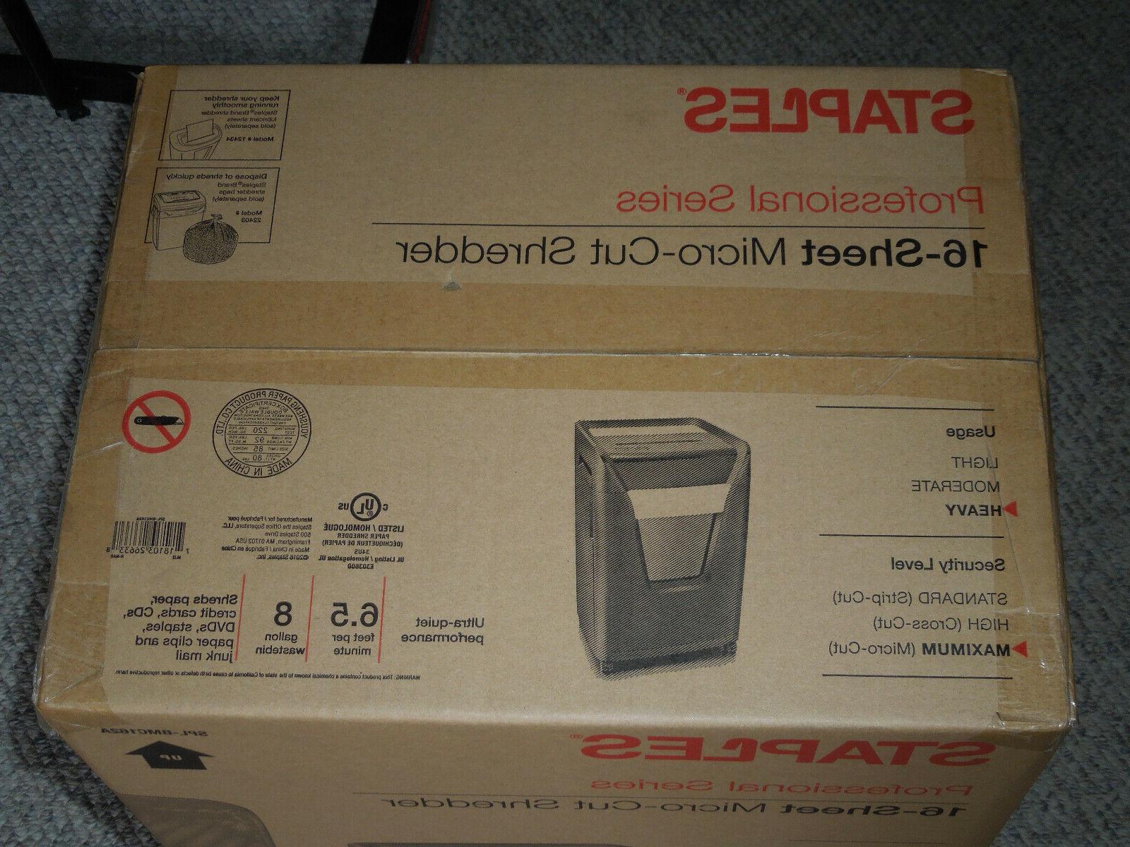 Staples 16-Sheet Micro-Cut Commercial Shredder - Sealed