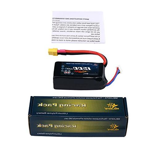 MELASTA 2 packs 11.1V 1500mAh 40C LiPo Battery for RC Car,Skylark Shredder 200,Qav250,Vortex,Drone