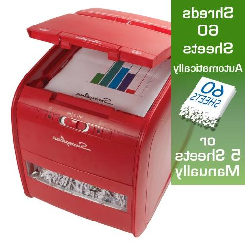 Swingline Paper Feed, 60 Sheet Cross-Cut, 1 User, Stack-and-Shred