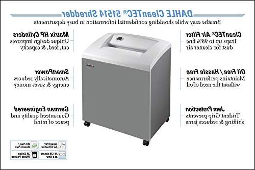 DAHLE CleanTEC 51514 Paper Shredder w/Fine Filter, Protection, Security Sheet Max, 5+ Users