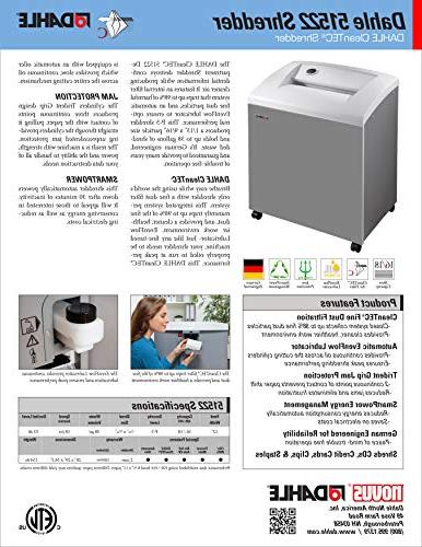 DAHLE CleanTEC 51522 Paper Shredder w/Fine Dust Filter, Automatic Security P-5, Sheet Max,
