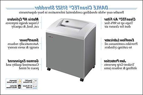 DAHLE CleanTEC 51522 Shredder w/Fine Filter, Automatic Oiler, Jam Security Level P-5, Sheet Max,