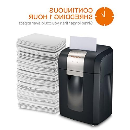 Bonsaii Pro 3S16 12-Sheet Duty Paper/CD/Credit Card Shredder, dB Pullout Basket and Casters, Black