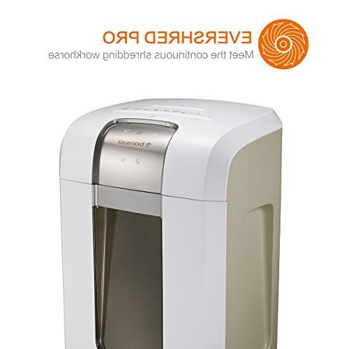 Bonsaii Pro Heavy Paper/CD/Credit Shredder, Minutes Running dB 7.9 Gallons Pullout Wastebasket with 4 Casters, White