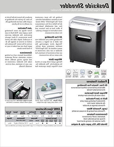 Dahle PaperSAFE Shredder, Oil Free/Hassle Free, Security Credit Cards & Clips