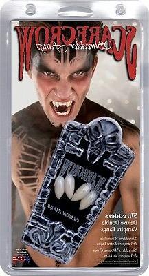 Shredders Deluxe Double Vampire Fangs, White, Scarecrow