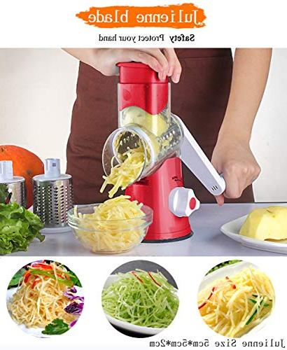 Vegetable Manual Vegetable Fast Fruit Cheese Shredder, Speedy Rotary Drum Grater Slicer Strong-Hold Suction