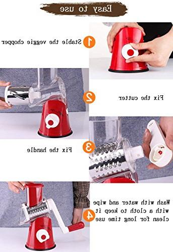 Vegetable Chopper,Upintek Manual Vegetable Slicer,Efficient and Fast Vegetable Fruit Cheese Rotary Drum Slicer Strong-Hold Suction Cup