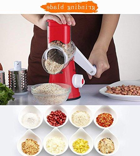 Vegetable Mandoline Chopper,Upintek 3-Blades Manual and Fast Vegetable Fruit Cutter Cheese Shredder, Rotary Drum Grater Strong-Hold