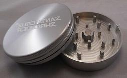 "LARGE 2.75"" Silver 2 Piece SANTA CRUZ SHREDDER Grinder Gloss"