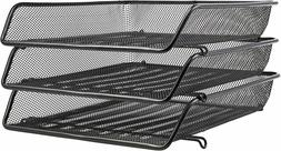 AmazonBasics Mesh Triple Stacking Office Tray Organizer