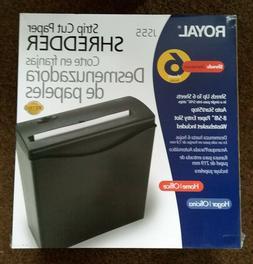 ROYAL STRIP CUT 6 SHEET PAPER SHREDDER JS55 WITH WASTEBASKET